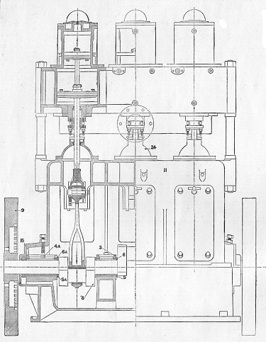 Sectional front view of Peache engine